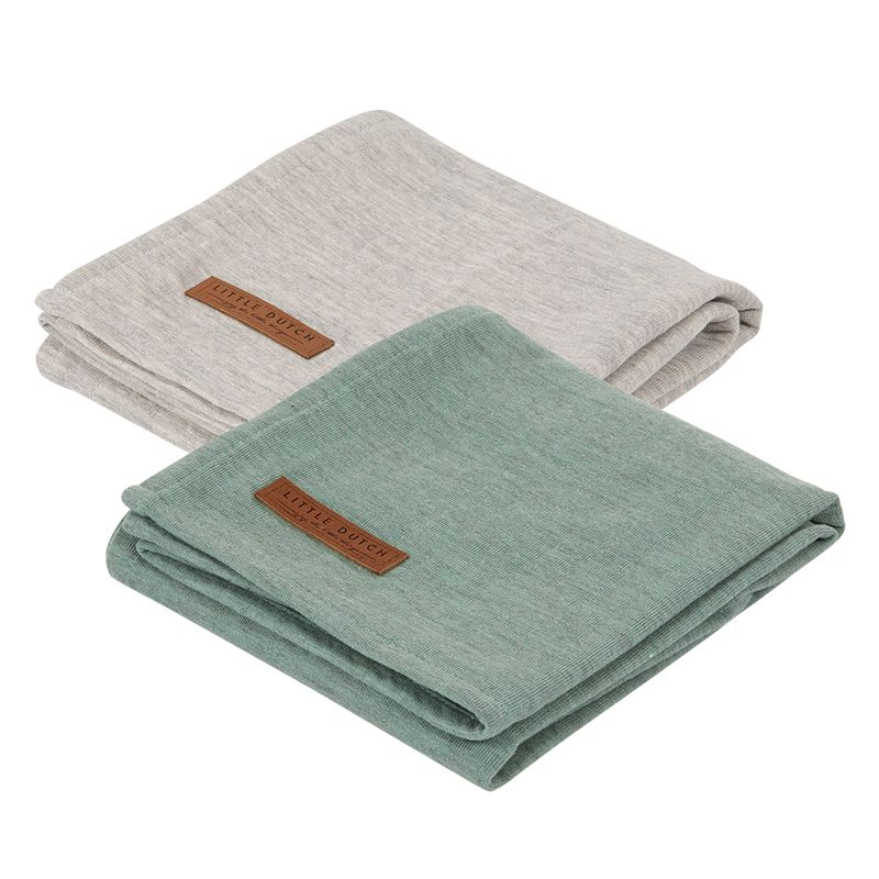 Little Dutch pleny swaddle 70x70 pure mint/grey, 2 ks