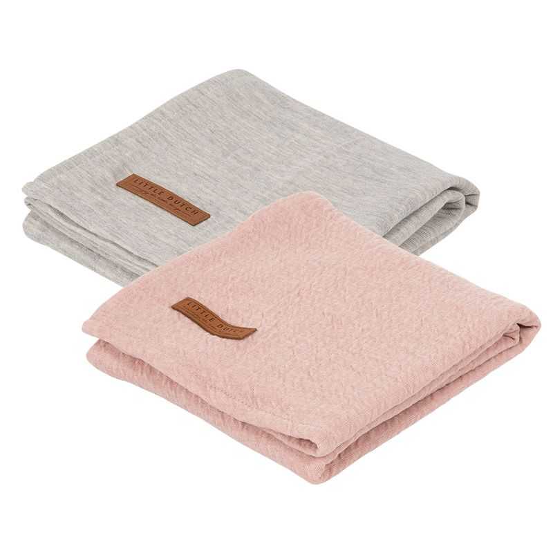 Little Dutch pleny swaddle 70x70 pure pink/grey, 2 ks