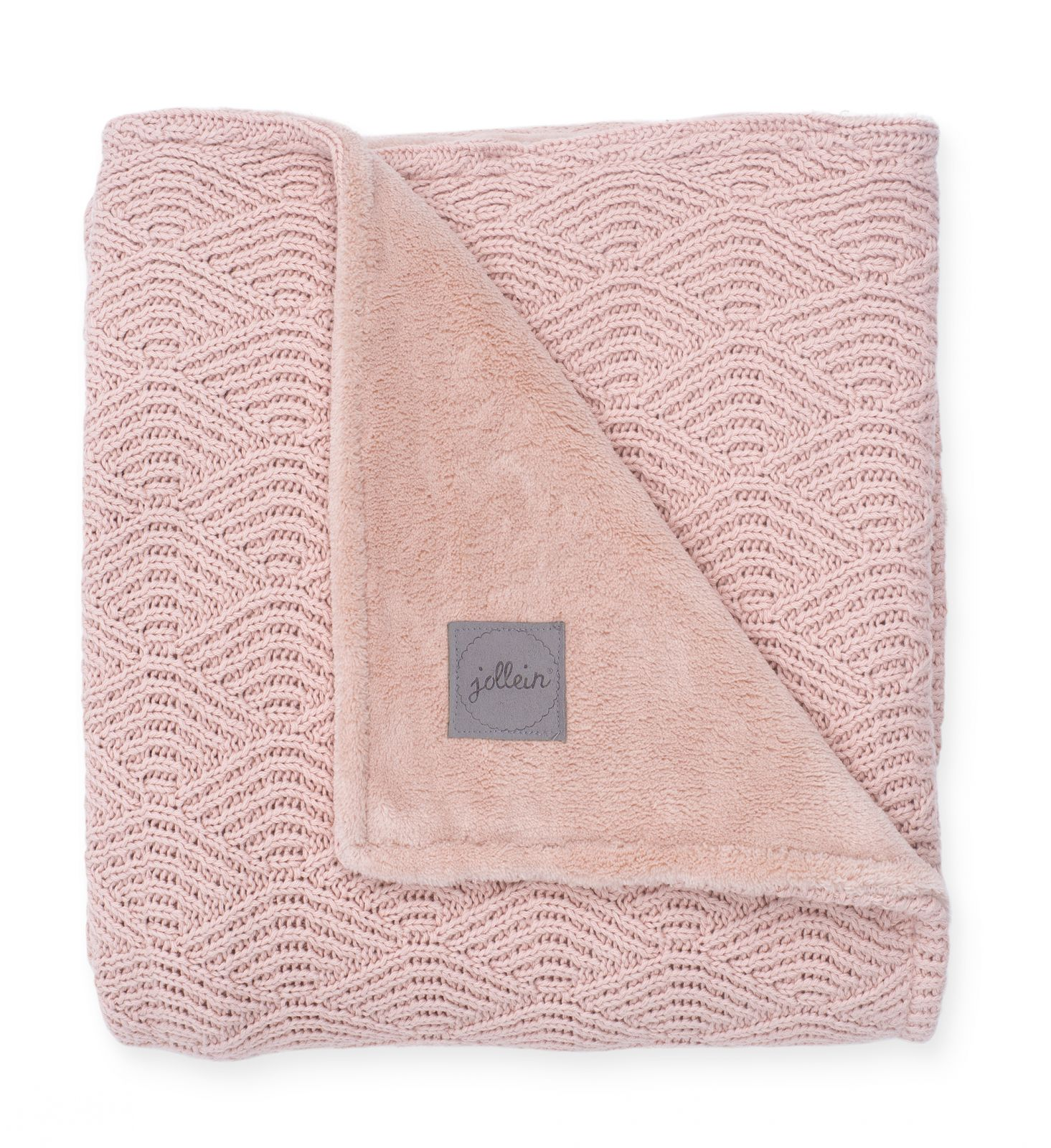 Jollein Deka 75x100cm River knit pale pink/coral fleece